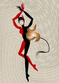 Harlequin woman dressed in Devil costume. Illustration. — Stock Vector