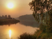Summer twilight on the river Mologa in Novgorod region. — Stock Photo