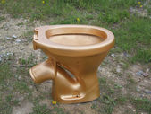 The golden toilet. — Stock Photo