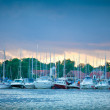 The yachts at sunset - Stock Photo