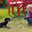 Girl and puppy of dachshund — Stock Photo #7620192