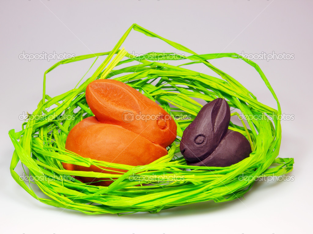 Easter and spring decoration with bunnies — Stock Photo #7631045
