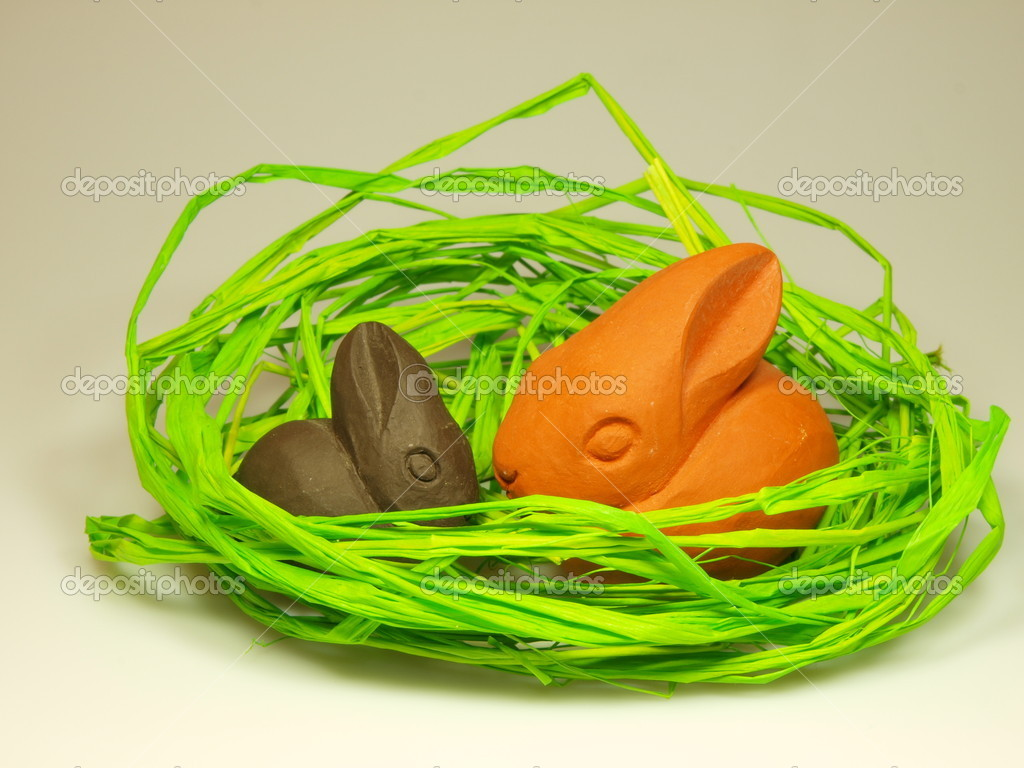 Easter and spring decoration with bunnies  Stock Photo #7631048
