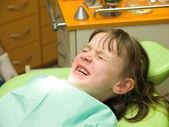 Girl stressed by dental examination — Stock Photo