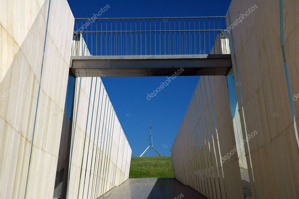 Canberra Parliament House in distance, modern architecture in foreground — Stock Photo #7718114