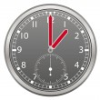 Grey clock with red arrow illustration — Stockvectorbeeld