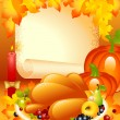 Thanksgiving card. background with turkey — Stock Vector #7649568