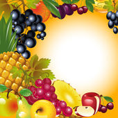 Thanksgiving card. fruit background — Stock Vector
