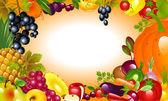 Thanksgiving. Vegetable, fruit background. — Stock Vector