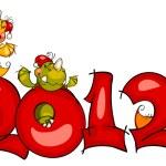 New Year's border. dragon 2012 — Stock Vector