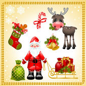 Christmas set. Santa Claus — Vettoriale Stock