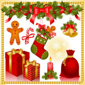 Christmas set. gifts — Vettoriale Stock