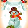 Christmas card. snowman and ribbon - Stock Vector