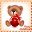 Christmas card. teddy  bear with a ball - Stock Vector