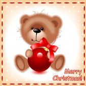 Christmas card. teddy bear with a ball — Stock Vector