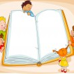 Children read a book — Stock Vector