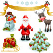 Royalty-Free Stock Vector Image: Christmas set. Santa and Christmas tree