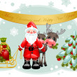 Christmas card. Santa and Christmas tree. — Vettoriali Stock