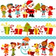Christmas background with kids — Stock Vector