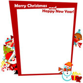 Christmas frame with kids — Stock Vector