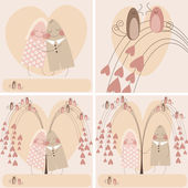 Valentine card. couple in love. set. — Stock Vector