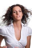 Vacker ung kvinna som leende — Stockfoto
