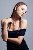 Hairstyle portrait of beautiful brunette girl — Stock Photo