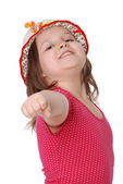 Portrait of the cheerful girl, shaking a fist — Stock Photo