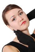 Ritratto di ragazza bella con guanti neri — Foto Stock