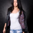 Portrait of Asian girl in a leather jacket — Stock Photo #7650203