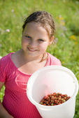 The girl with a bucket with a strawberry — Stock Photo