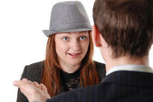 Young girl in a hat on consultation — Stock Photo