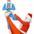 Santa Claus and the Snow Maiden of yoga — Stock Photo #7958263