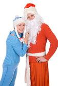 サンタ クロースと雪の乙女 — ストック写真