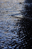 Cobbled street after rain — Stock Photo