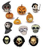 Set of pumpkins and skulls — Stock Vector
