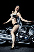 Fashion Biker Girl — Stock Photo