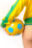 Brazilian Bikini Bottom model holding soccer ball — Stock Photo