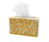 Isolated Yellow and Orange Box of Tissues — Stock Photo