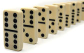 Line of Ivory Dominos — Stock Photo
