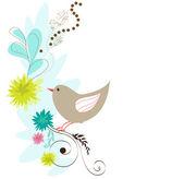 Ilustração com pássaro — Vetor de Stock