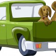 Dogs in the car — Imagen vectorial