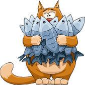 Katze und fisch — Stockvektor