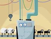 Sheeps on the conveyor — Stock Vector
