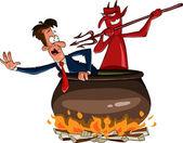 Infernal cauldron — Stock Vector