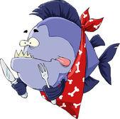 Hungry Piranha — Stock Vector