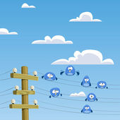 A flock of birds sitting on wires — Stock Vector