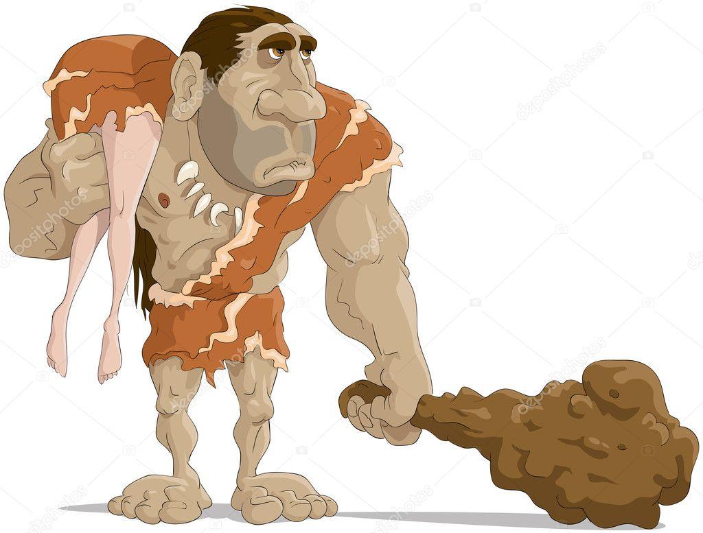 L uomo di neanderthal — vettoriale stock
