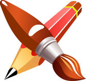 Vector illustration, pencil and brush — Vector de stock