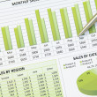 Green Business Financial Chart Graph - Stock Photo